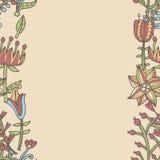 Frontera de la flor, textura inconsútil con las flores Uso como tarjeta de felicitación Fotografía de archivo libre de regalías