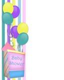 Frontera de la invitación de la ducha de bebé Imagen de archivo libre de regalías