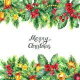 Frontera de la Navidad aislada en el fondo blanco Imagen de archivo