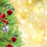 Frontera de la Navidad con el árbol de abeto Fotografía de archivo libre de regalías