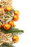 Frontera de la Navidad con los ornamentos y las estrellas Fotografía de archivo libre de regalías