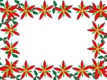 Frontera de la Navidad con los poinsettias ilustración del vector