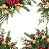 Frontera de la Navidad de la chuchería del oro Foto de archivo libre de regalías