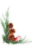 Frontera de la Navidad del cono y de la estrella Foto de archivo libre de regalías