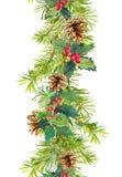 Frontera de la Navidad - ramas de árbol de abeto con los conos y el muérdago Tira de la acuarela Foto de archivo