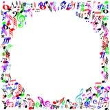 Frontera de la página de las notas de la música del color Foto de archivo libre de regalías