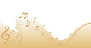 Frontera de la paginación de la música de hoja del oro Fotografía de archivo