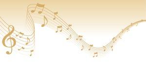 Frontera de la paginación de la música de hoja del oro Fotos de archivo libres de regalías