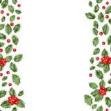 Frontera de la rama del acebo de la Navidad Vector del EPS 10 Fotos de archivo