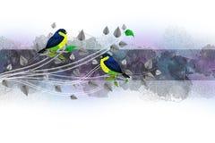 Frontera de la vendimia con los pájaros Foto de archivo