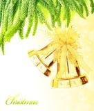 Frontera de las alarmas del árbol de navidad Imagen de archivo libre de regalías