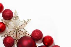 Frontera de las decoraciones de la Navidad Fotografía de archivo