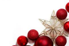 Frontera de las decoraciones de la Navidad para la tarjeta de felicitación Imagen de archivo libre de regalías