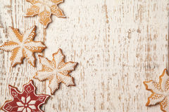 Frontera de las galletas del pan de jengibre de la Navidad Imagen de archivo libre de regalías