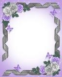 Frontera de las rosas y de las cintas de la lavanda Fotos de archivo libres de regalías