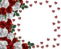 Frontera de los corazones y de las rosas del día de tarjetas del día de San Valentín stock de ilustración