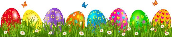 Frontera de los huevos de Pascua con las margaritas