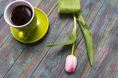 Frontera de los tulipanes rosados frescos de la primavera Foto de archivo libre de regalías