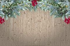 Frontera de madera de la Navidad del Grunge Fotografía de archivo libre de regalías