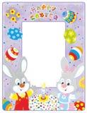 Frontera de Pascua con los conejitos ilustración del vector