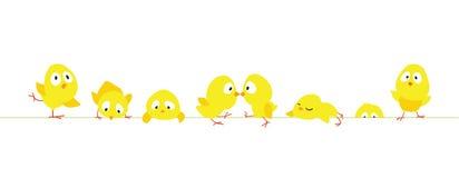 Frontera de Pascua con los pollos lindos divertidos stock de ilustración