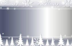 Frontera de plata 2 del copo de nieve y del fondo de los árboles stock de ilustración