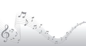Frontera de plata de la paginación de la música de hoja Fotografía de archivo libre de regalías