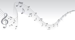 Frontera de plata de la paginación de la música de hoja Fotos de archivo libres de regalías