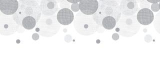 Frontera de plata del modelo de Grey Circles Dots Horizontal Seamless del vector con textura de la tela Perfeccione para el cuart Fotos de archivo