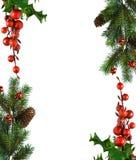 Frontera de ramificaciones de la Navidad Foto de archivo libre de regalías