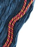Frontera de seda azul con dos cuerdas Fotografía de archivo libre de regalías