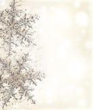 Frontera decorativa amarillenta del copo de nieve Foto de archivo libre de regalías