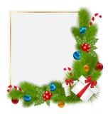 Frontera decorativa de elementos tradicionales de una Navidad Imágenes de archivo libres de regalías