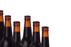 Frontera decorativa de las botellas de cerveza oscura frías selladas con gotas de la cerveza y del agua del portero aisladas en e fotos de archivo