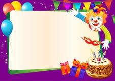 Frontera decorativa del cumpleaños con la torta Fotografía de archivo