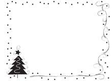 Frontera decorativa del marco con el árbol de navidad y las estrellas Fotografía de archivo libre de regalías