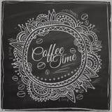 Frontera decorativa del tiempo del café stock de ilustración