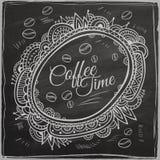 Frontera decorativa del tiempo del café Fondo stock de ilustración