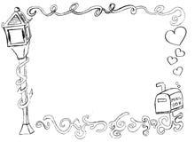 Frontera decorativa dibujada mano con el buzón Imagen de archivo