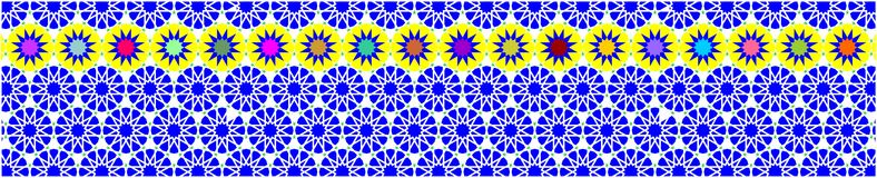 Frontera decorativa elegante compuesta de polígonos y de estrellas con color de fondo azul stock de ilustración