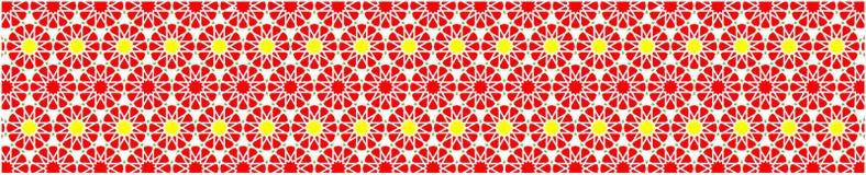 Frontera decorativa elegante compuesta de polígonos y de estrellas con colores amarillos y verdes rojos stock de ilustración