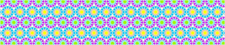 Frontera decorativa elegante compuesta de polígonos y de estrellas con colores brillantes stock de ilustración