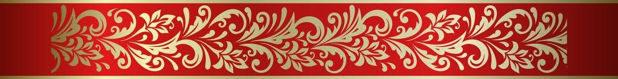 Frontera decorativa floral adornada del marco del elemento en el hohloma ruso Imagenes de archivo