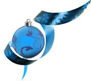 Frontera decorativa hecha de remolinos de la cinta azul Foto de archivo