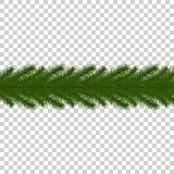 Frontera del árbol de abeto Brancher aislado del árbol de navidad Decoraciones estacionales del invierno realista Libre Illustration