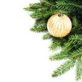 Frontera del árbol de abeto de la Navidad con la decoración de la Navidad aislada encendido Fotografía de archivo