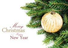 Frontera del árbol de abeto de la Navidad con la decoración de la Navidad aislada encendido Imagen de archivo libre de regalías