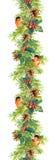 Frontera del abeto - ramas de árbol de navidad, conos, muérdago, pájaro rojo Marco de la acuarela Foto de archivo