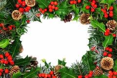 Frontera del acebo de la Navidad Imágenes de archivo libres de regalías