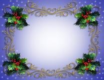 Frontera del acebo de la Navidad en azul Fotografía de archivo libre de regalías